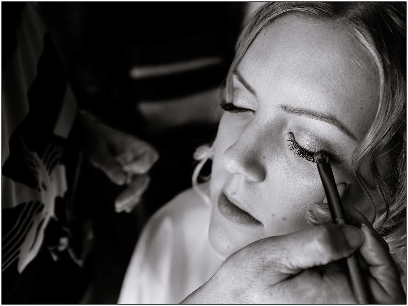 Bride getting reading before her Walton Hall wedding