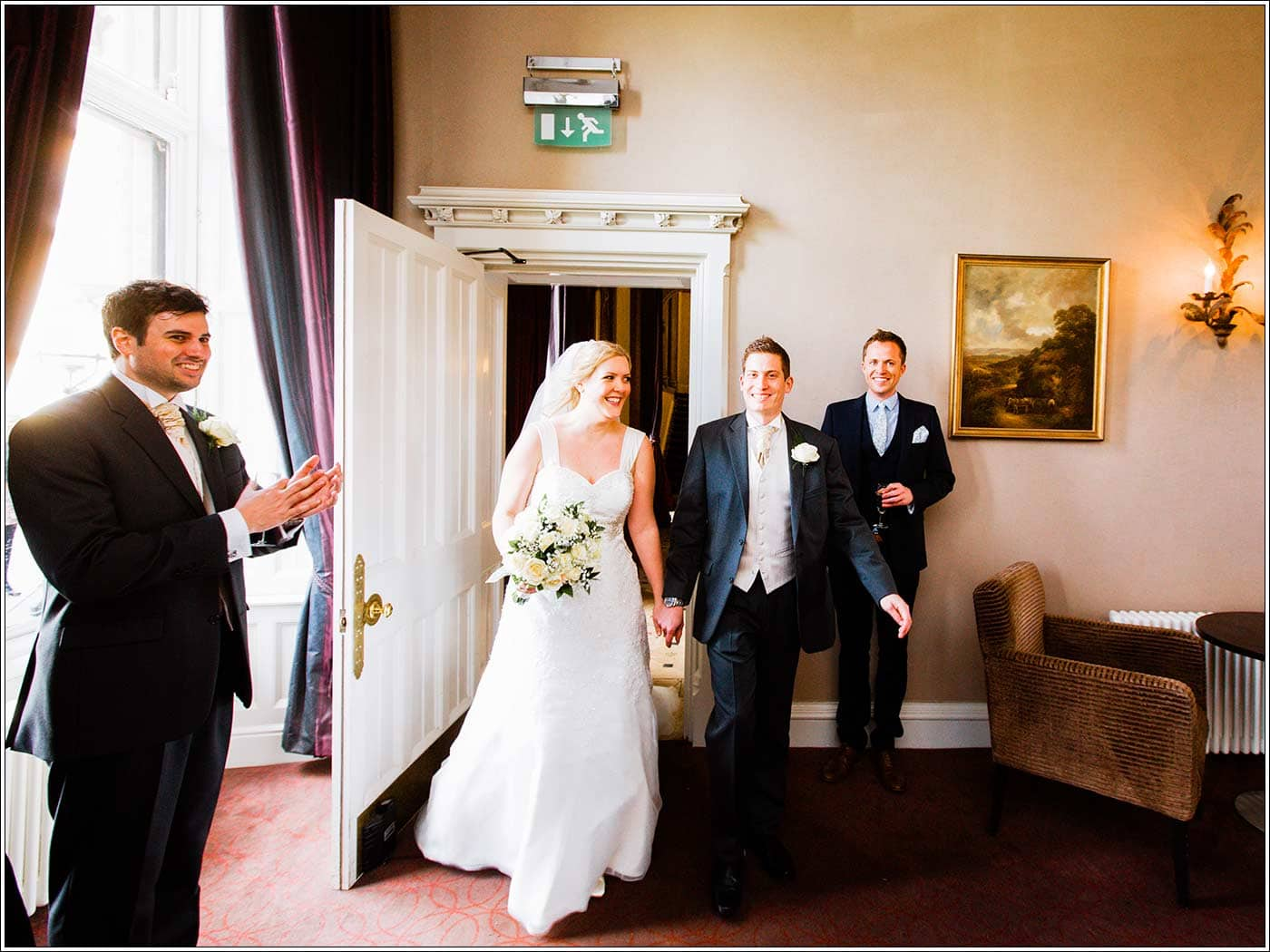 Happy bride and groom at Walton Hall