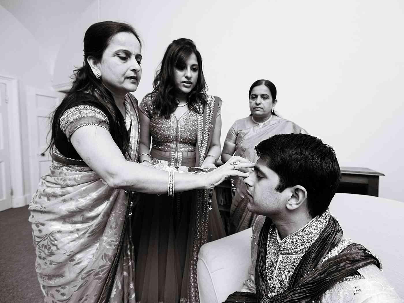 Groom being prepared before his Hindu wedding