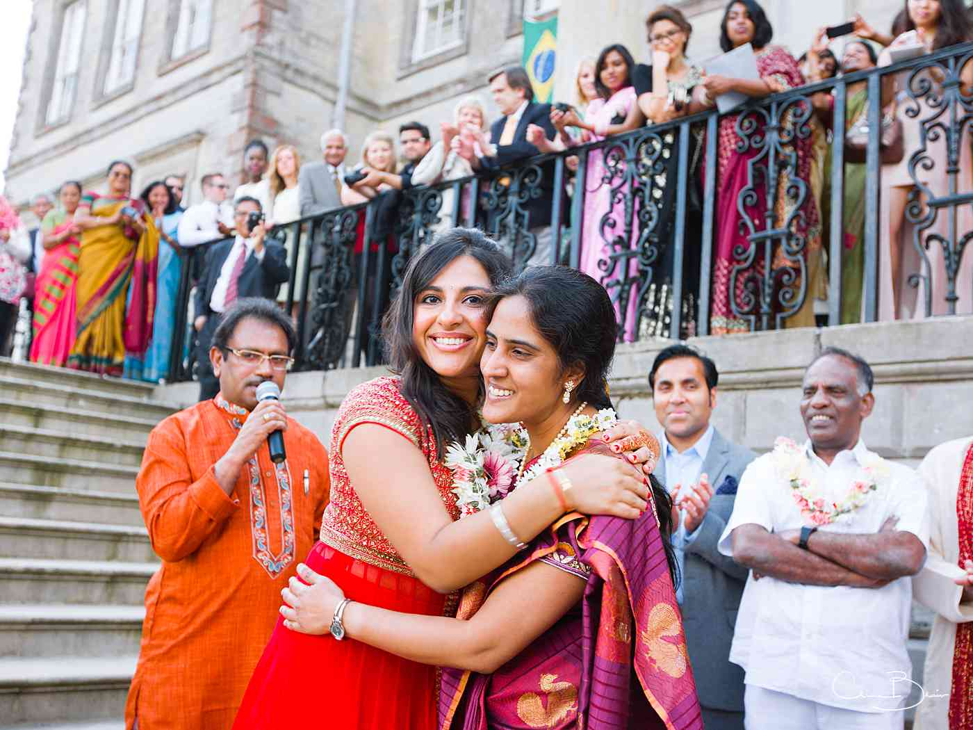 Indian women embracing at Ragley Hall