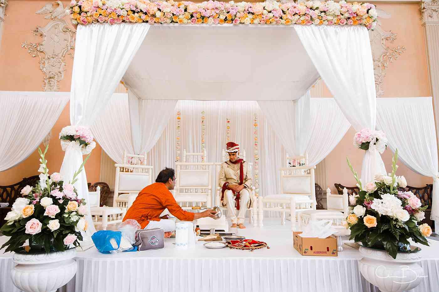 Groom sitting on Mandap before wedding ceremony
