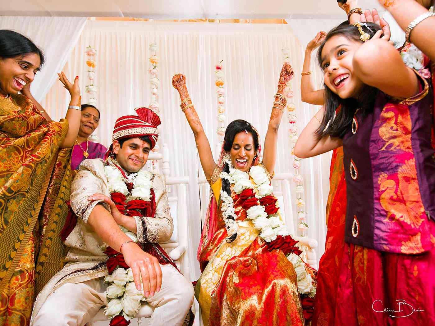 Jubilant bride winning game