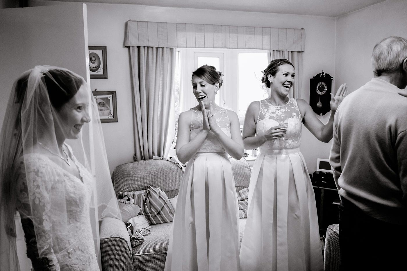 Maids seeing bride for first time