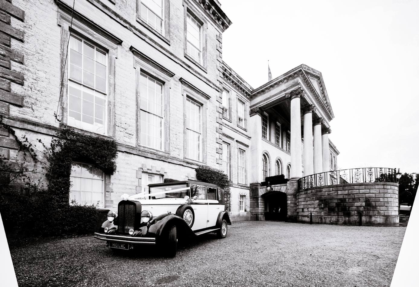 Wedding car waiting outside ragley Hall