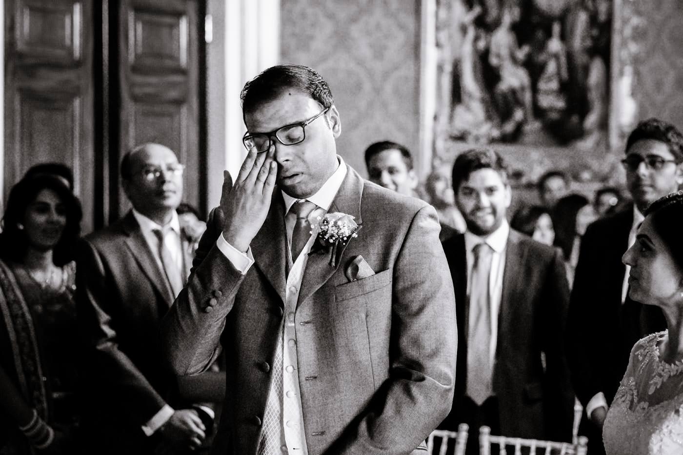 Tearful Indian groom at seeing his bride