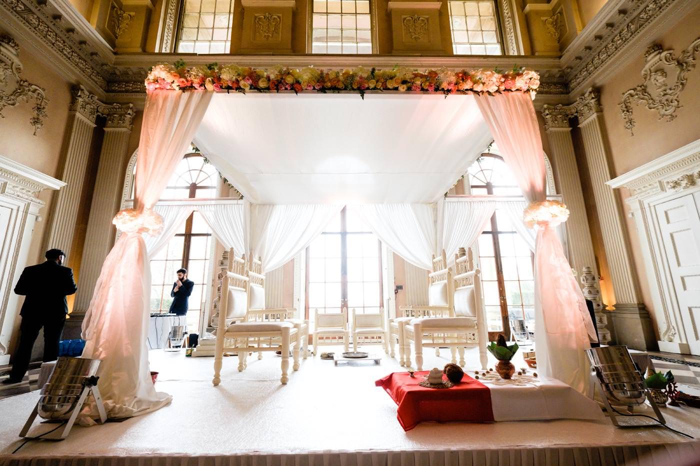 Great Hall at Ragley Hall prepared for Hindu wedding ceremony