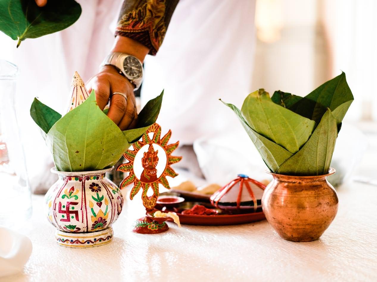 Hindu priest preparing for wedding at Ragley Hall