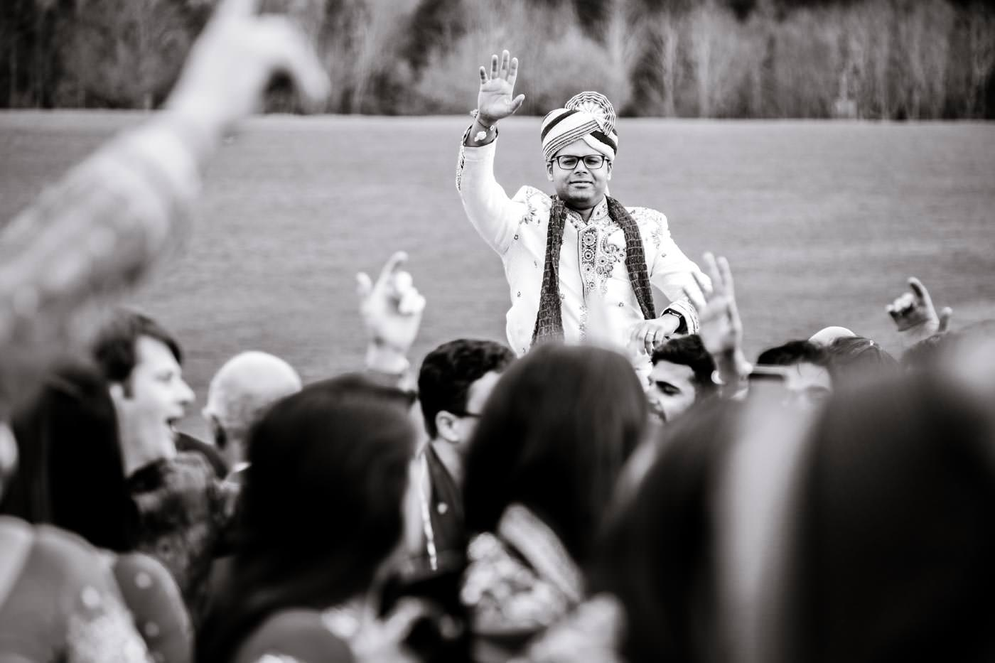 Groom arriving on a horse for his Hindu wedding at Ragley Hall