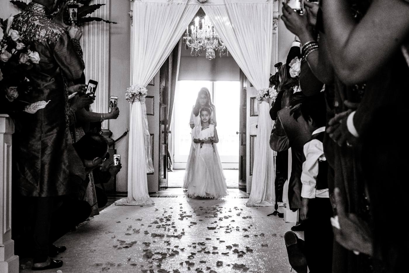 Bridesmaid arrival for the Hindu wedding celebration at Ragley Hall