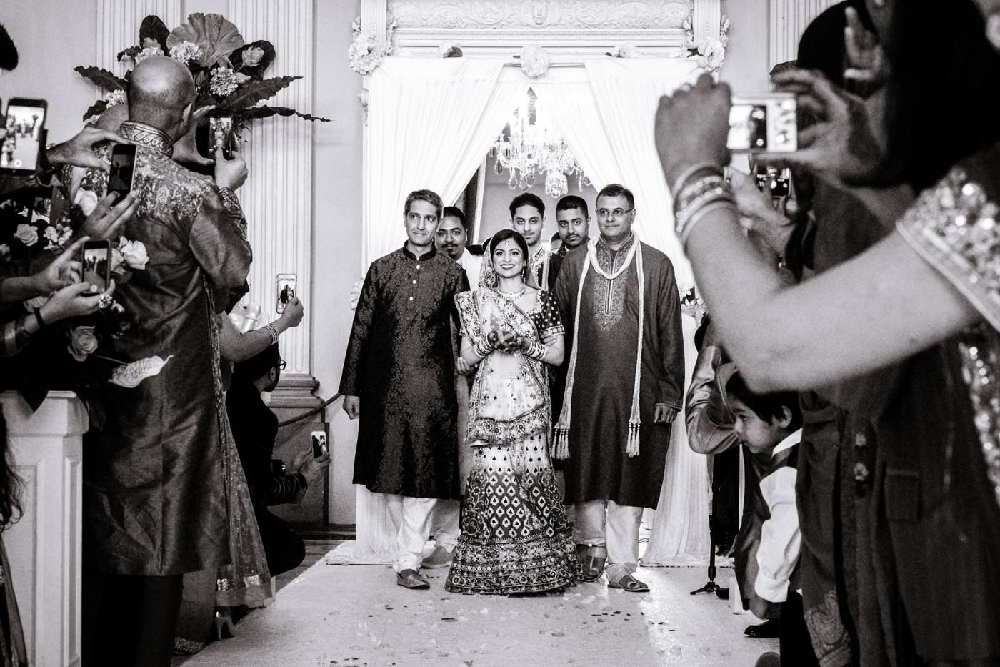 Bride's arrival for the Hindu wedding celebration at Ragley Hall