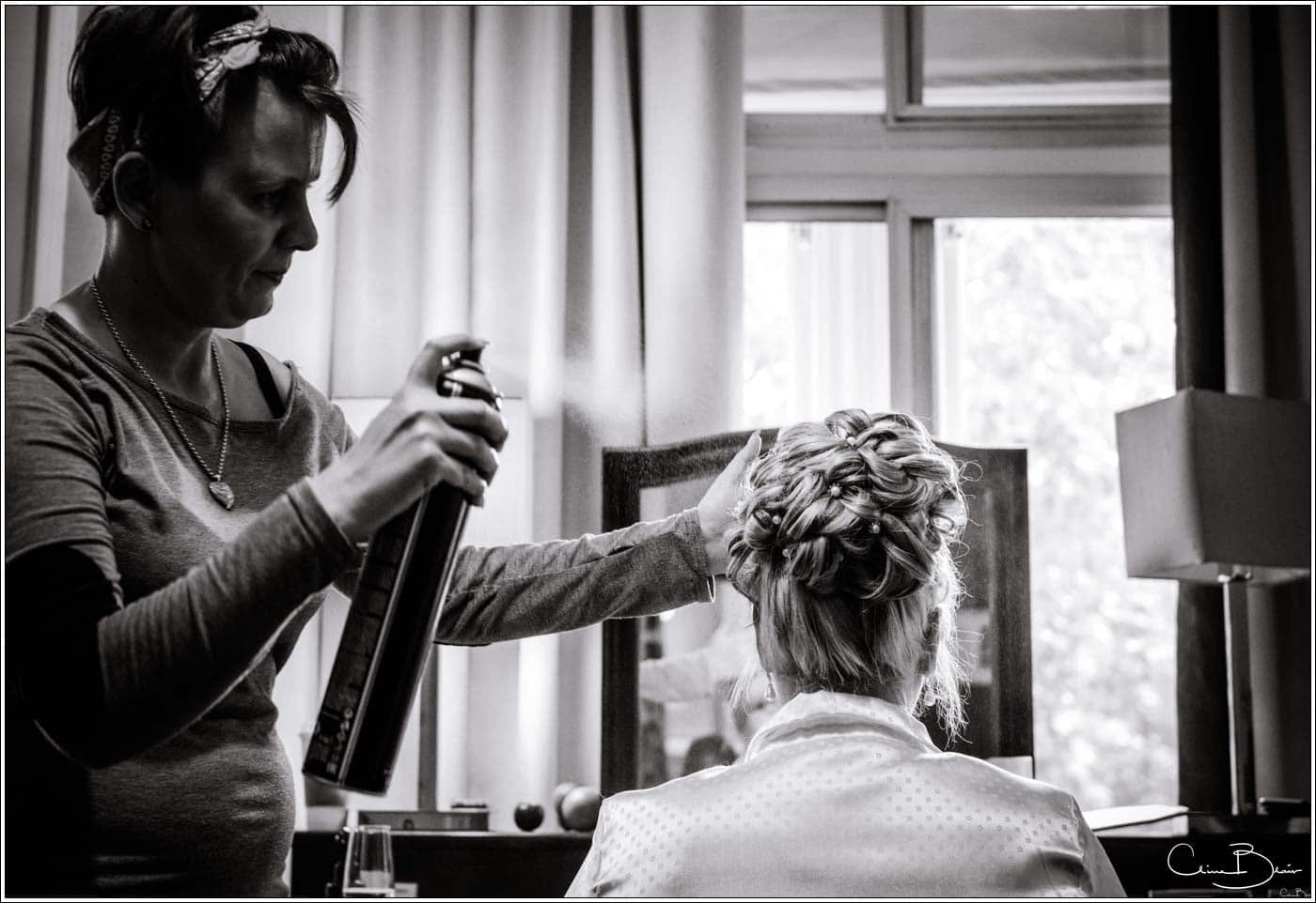 Bride getting ready before her Botley's Mansion wedding
