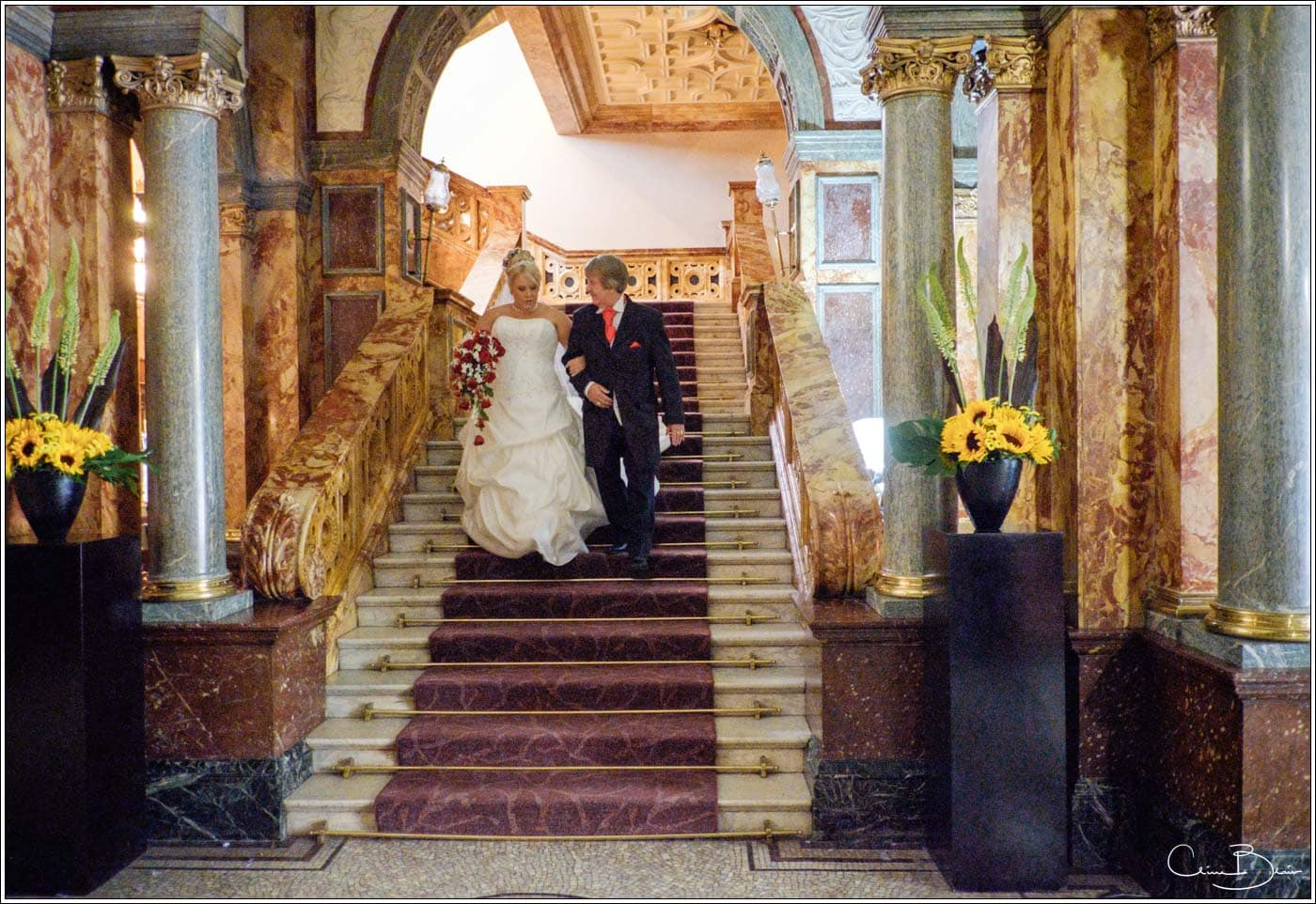 Bride and father leaving Hotel Russell on the way to a Botley's mansion wedding