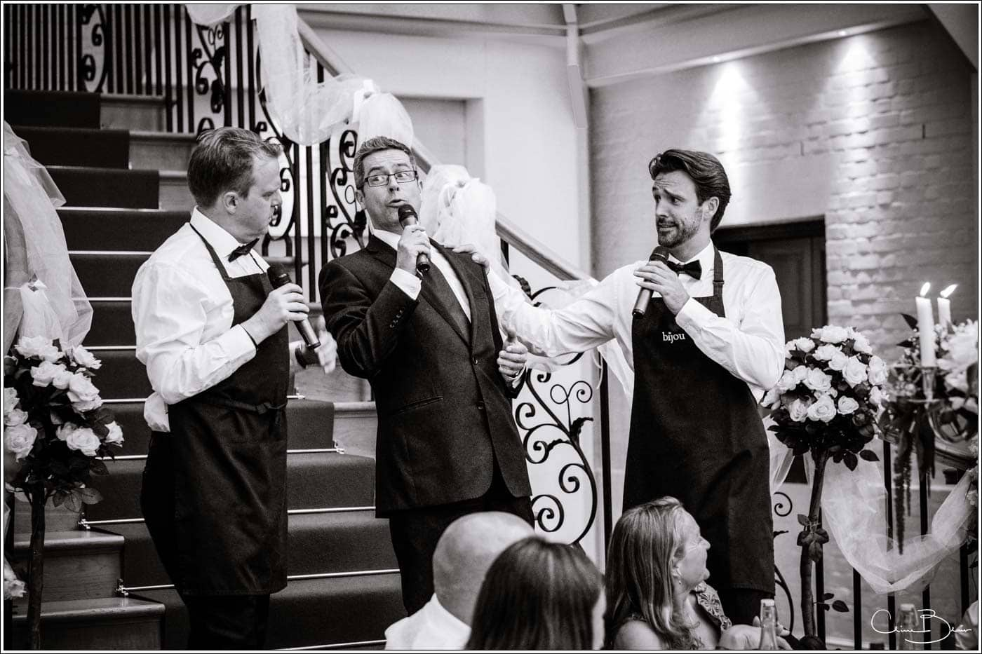 singing waiters at a botleys mansion wedding reception