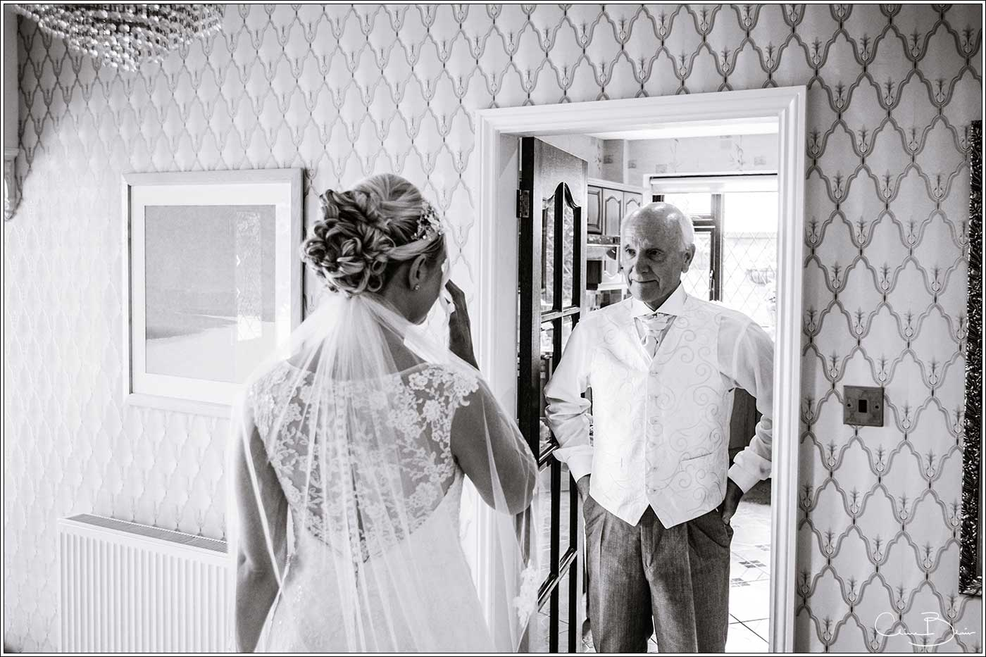 Coombe Abbey wedding photography showing father seeing bride