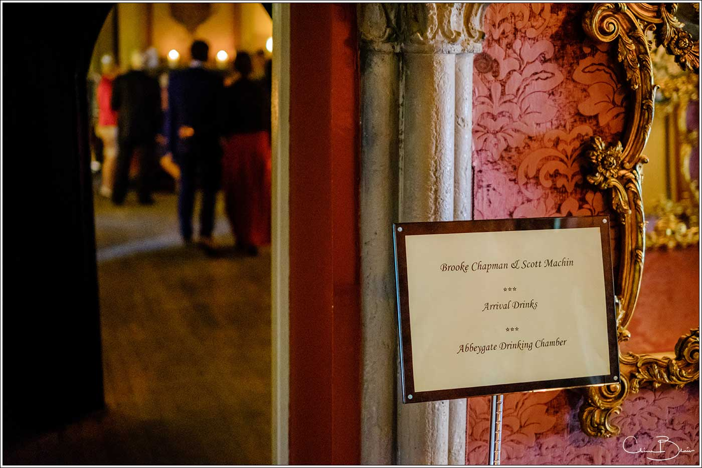 Coombe Abbey wedding photography showing sign for wedding ceremony