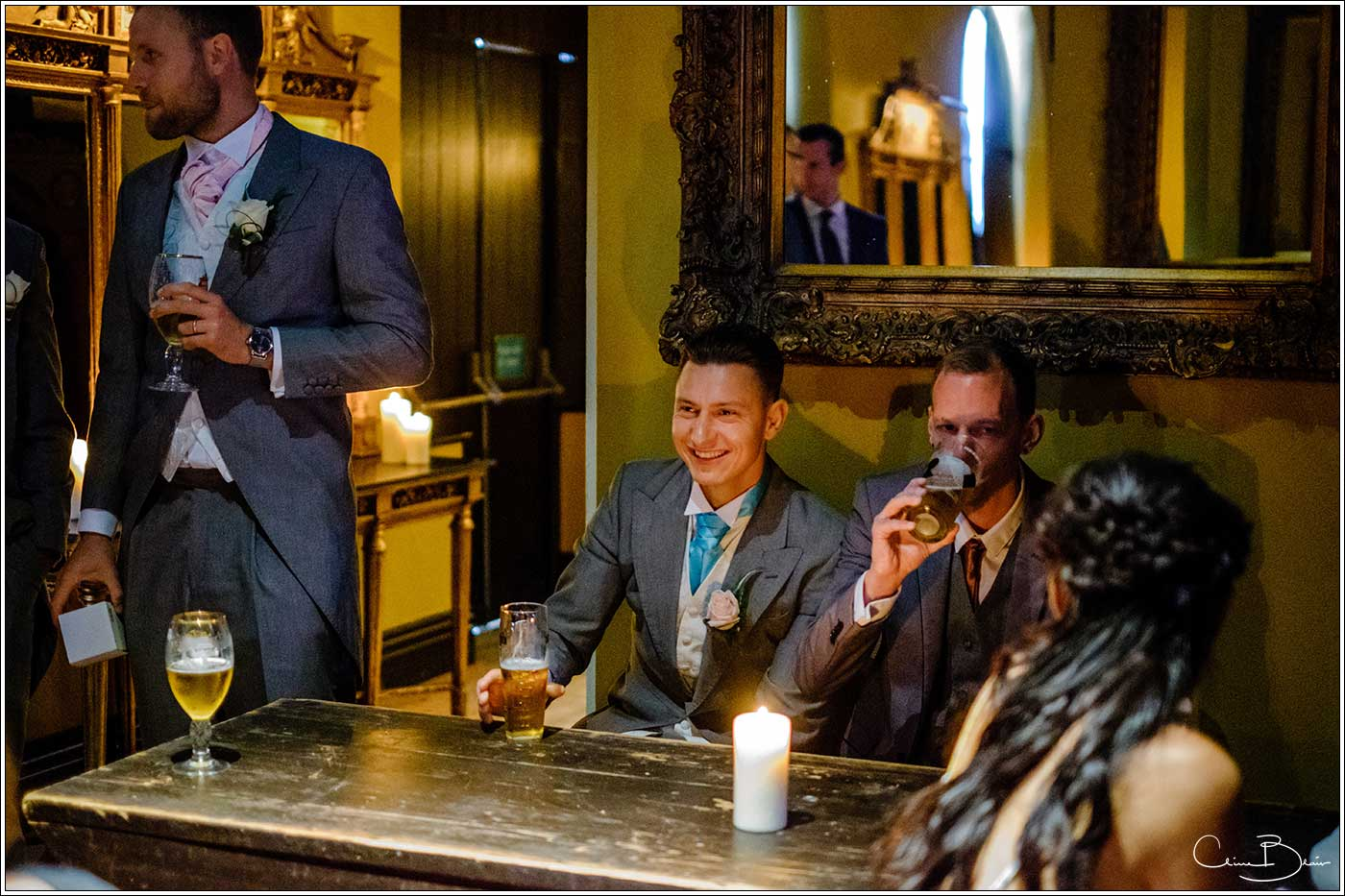 Coombe Abbey wedding photography showing groom having a drink before the ceremony