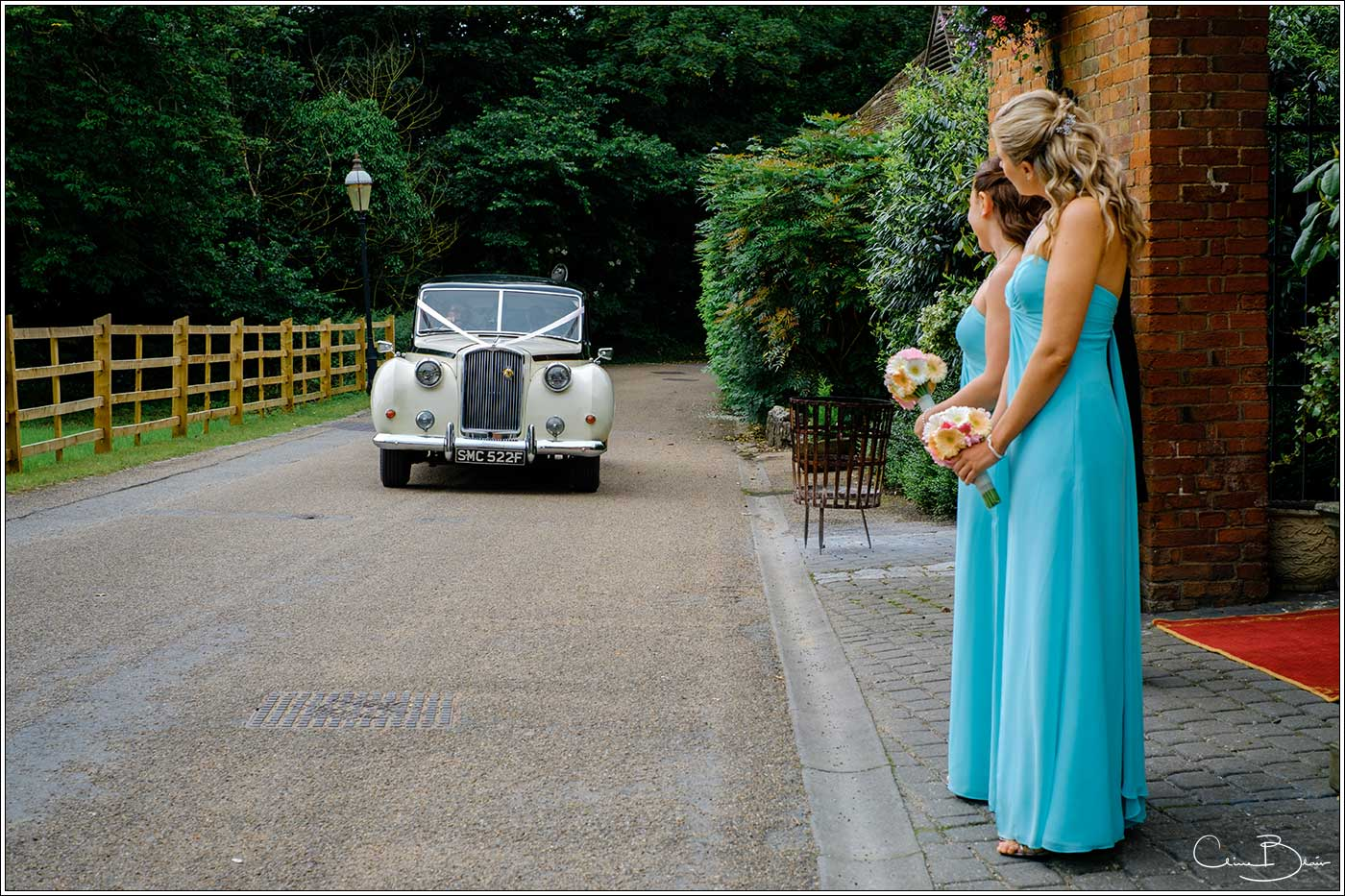 Coombe Abbey wedding photography showing bridal car arriving at The Abbeygate