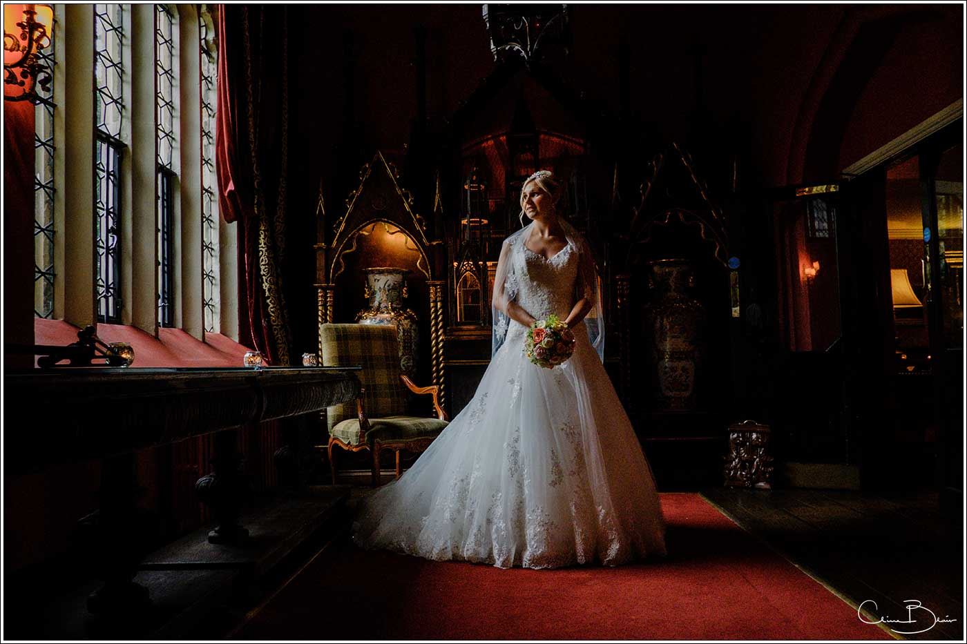 Coombe Abbey wedding photography showing bride in side lighting
