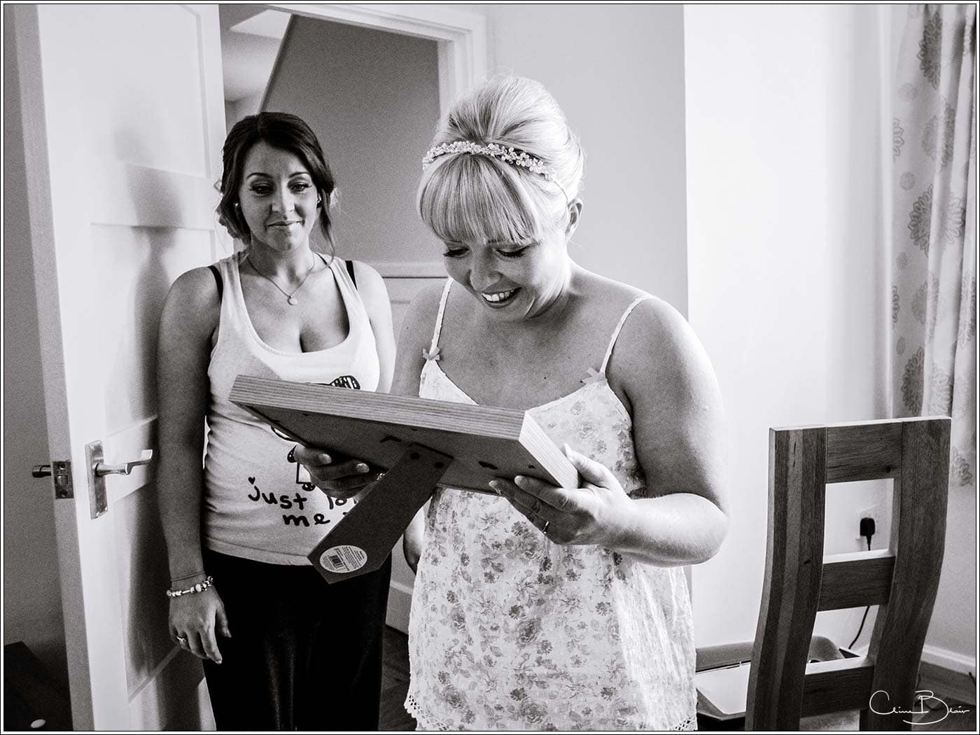 Bride's framed gift as photographed by a recommended Pendrell Hall photographer