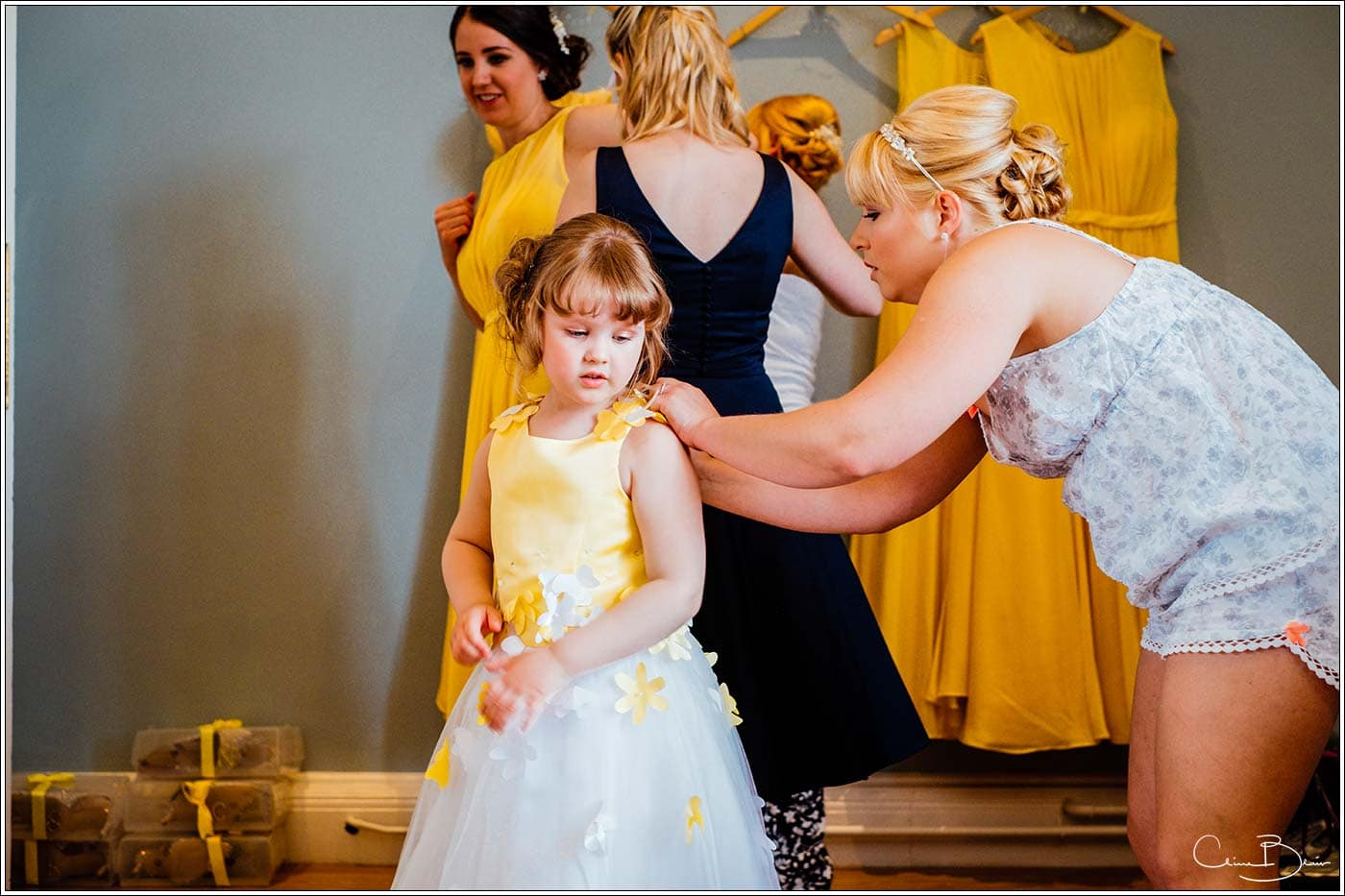 Flowergirl being prepared at Pendrell Hall as photographed by a recommended Pendrell Hall photographer