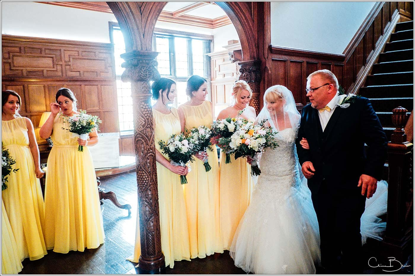 Pendrell Hall photographer captured Bride and father before entering the wedding ceremony