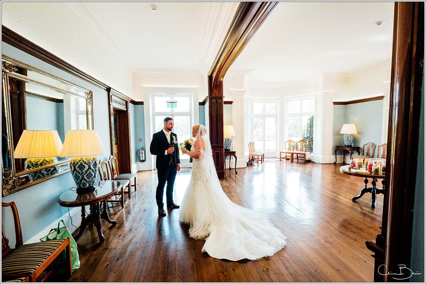 Bride and groom alone at Pendrell Hall as photographed by a recommended Pendrell Hall photographer