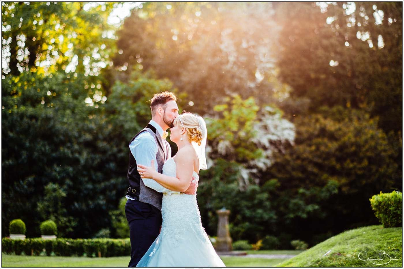 Groom and Bride enjoying the sun at Pendrell Hall as photographed by a recommended Pendrell Hall photographer