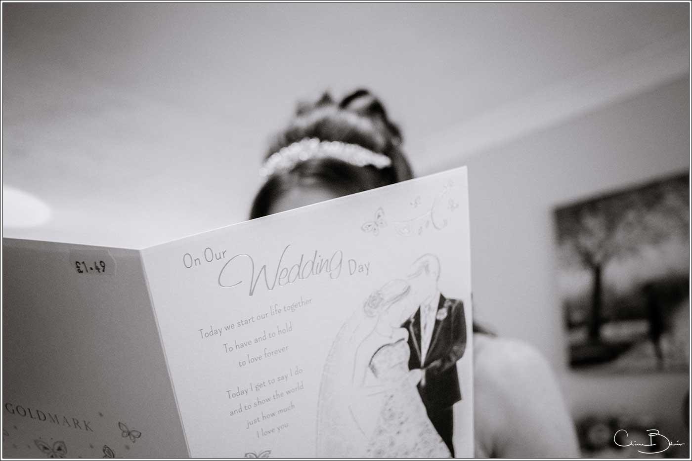 Bride ready card: Bank House Wedding Photographer Clive Blair Photography. Documentary Birmingham Wedding Photographer