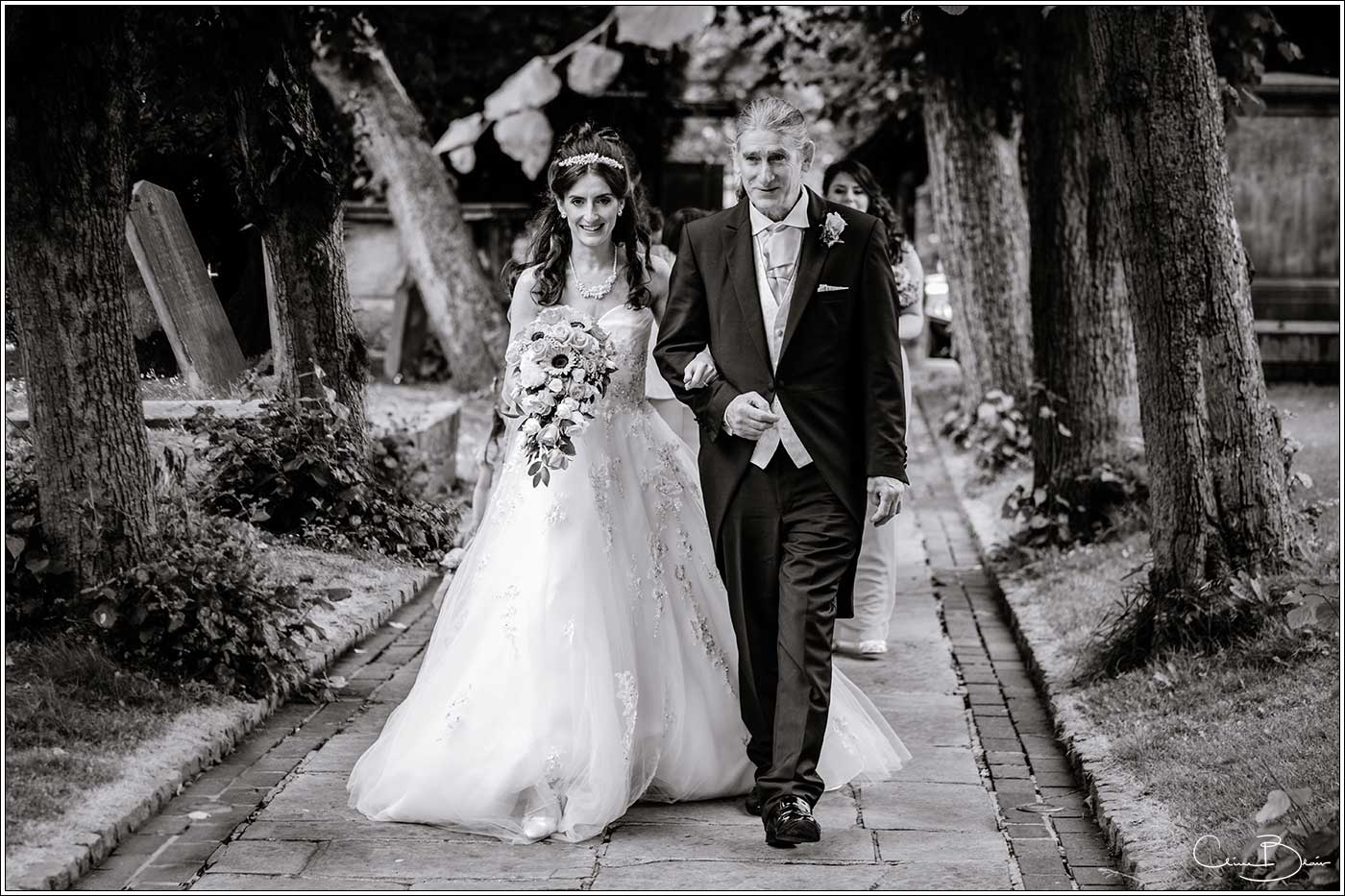 Bride and father arriving at church: Bank House Wedding Photographer Clive Blair Photography. Documentary Birmingham Wedding Photographer