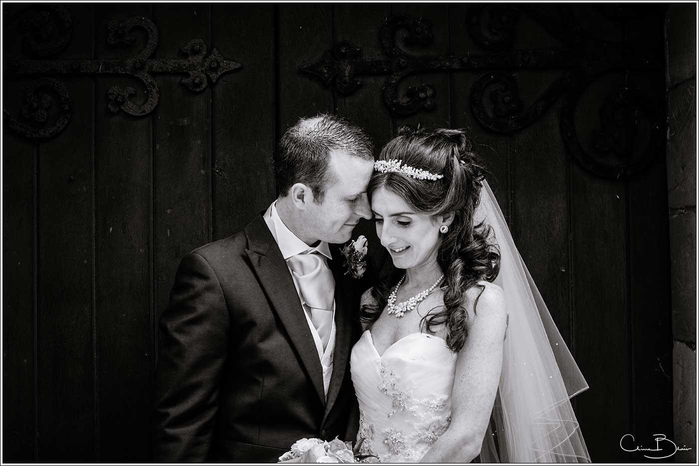 Tender moment between bride and groom: Bank House Wedding Photographer Clive Blair Photography. Documentary Birmingham Wedding Photographer