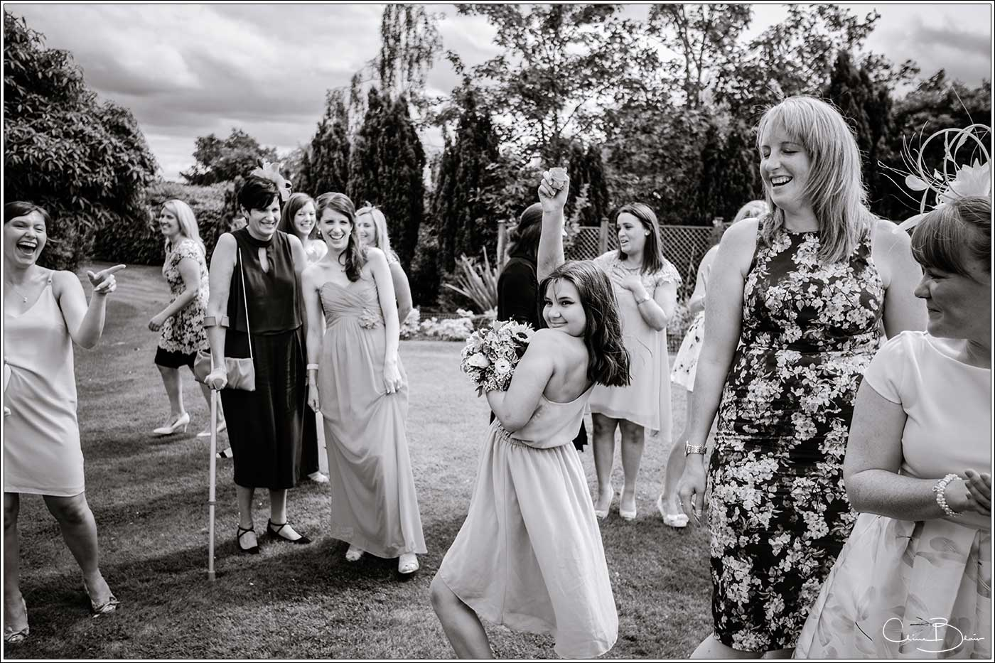 Girl who caught bride's bouquet: Bank House Wedding Photographer Clive Blair Photography. Documentary Birmingham Wedding Photographer
