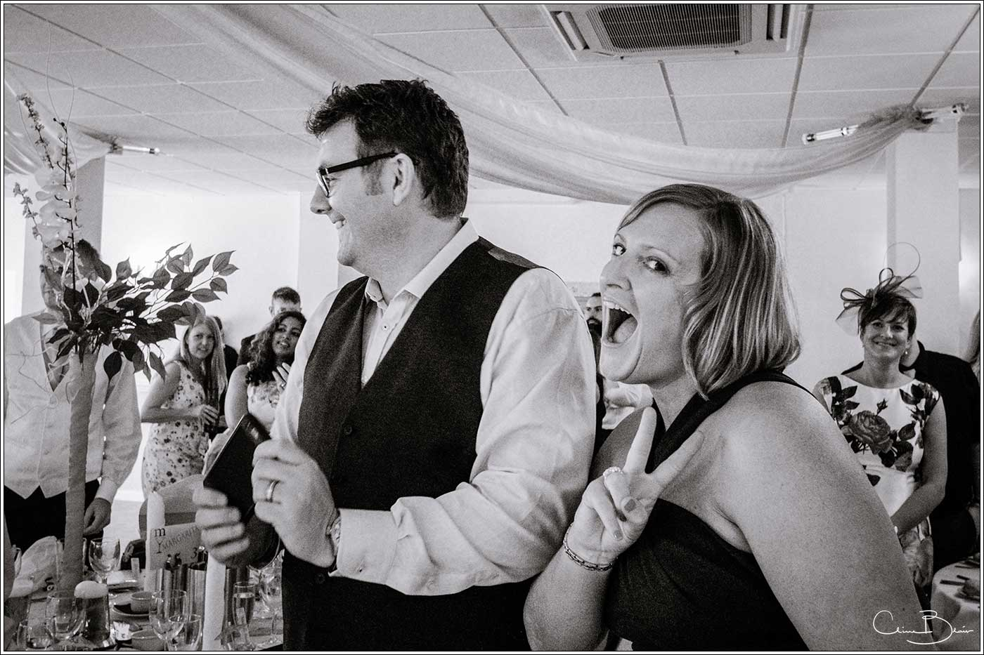 Woman guests at wedding breakfast: Bank House Wedding Photographer Clive Blair Photography. Documentary Birmingham Wedding Photographer