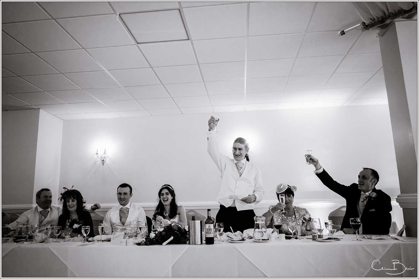 Father of bride offering a toast: Bank House Wedding Photographer Clive Blair Photography. Documentary Birmingham Wedding Photographer