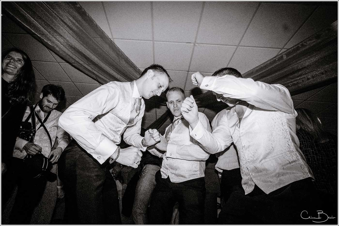 Men on dancefloor: Bank House Wedding Photographer Clive Blair Photography. Documentary Birmingham Wedding Photographer