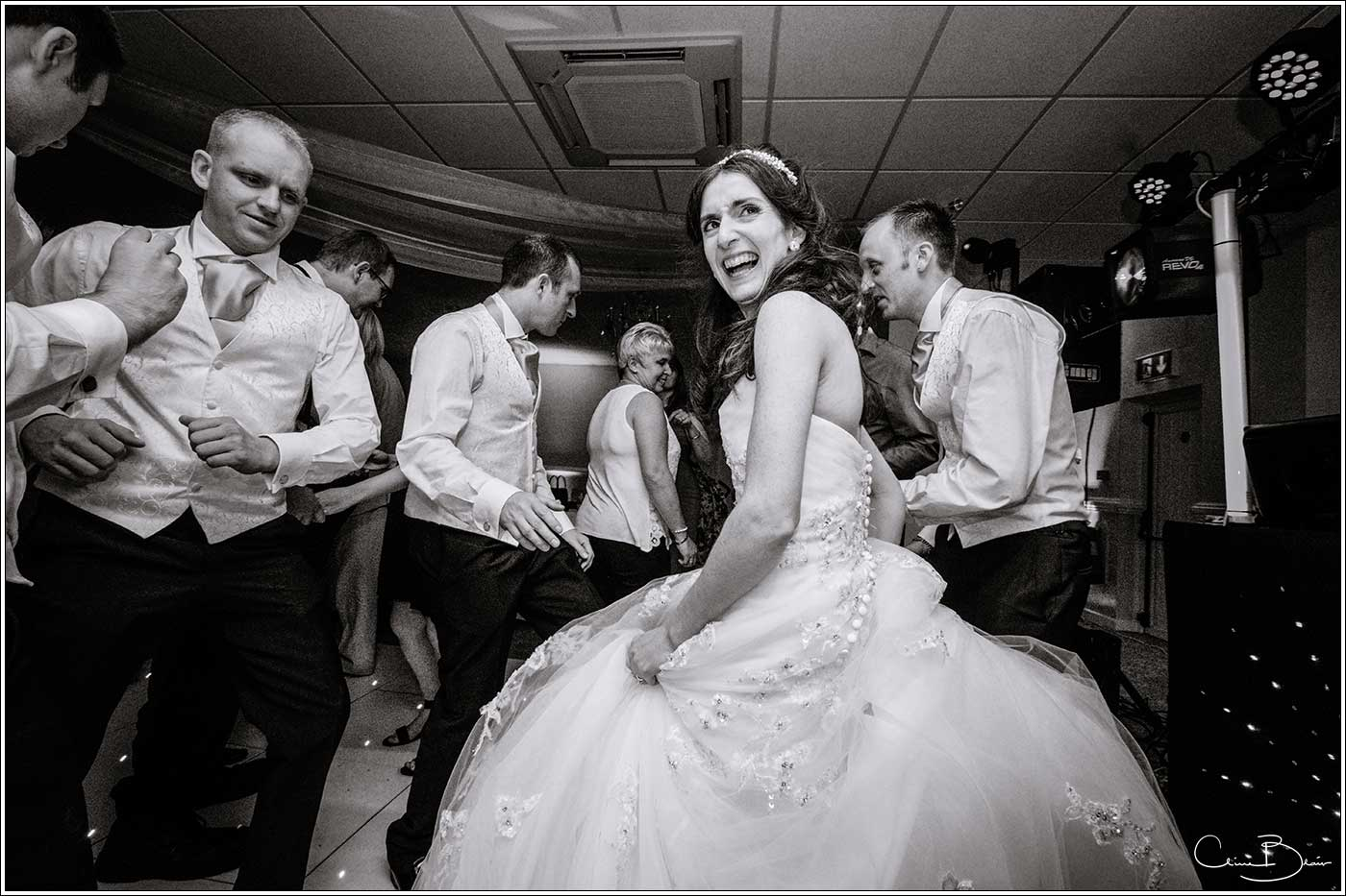 Bride on dancefloor: Bank House Wedding Photographer Clive Blair Photography. Documentary Birmingham Wedding Photographer