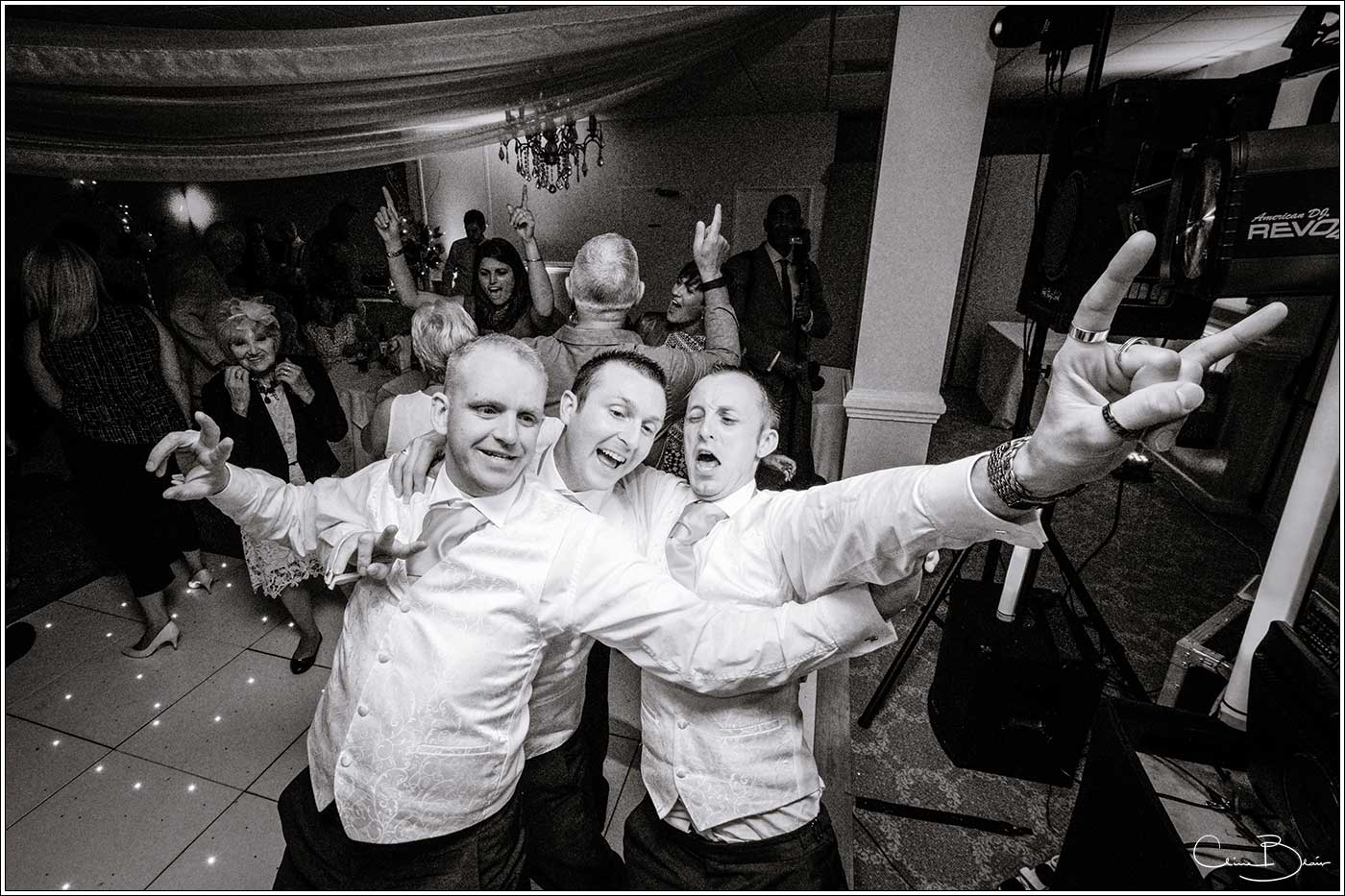 Groom and men on dancefloor: Bank House Wedding Photographer Clive Blair Photography. Documentary Birmingham Wedding Photographer