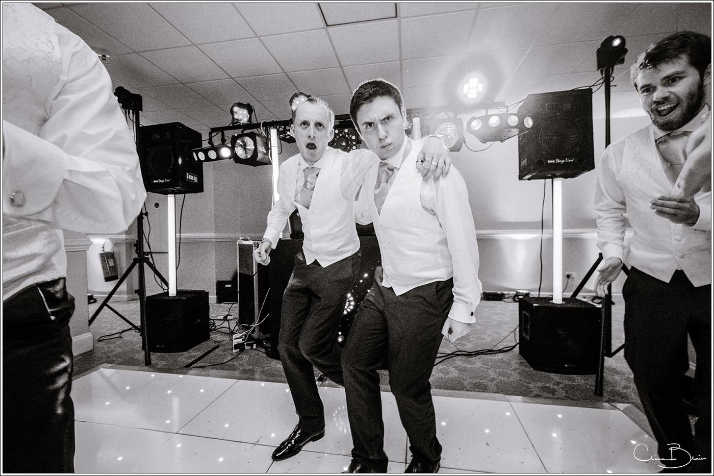 2 guests together on dancefloor: Bank House Wedding Photographer Clive Blair Photography. Documentary Birmingham Wedding Photographer