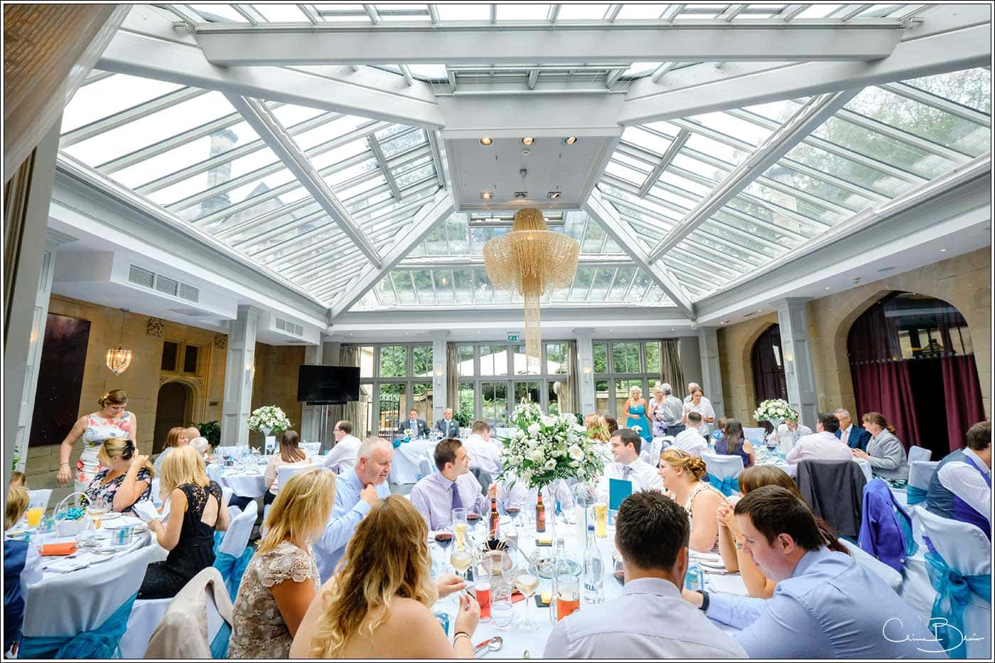 Wedding breakfast room-by Hampton manor wedding photographer Clive Blair Photography