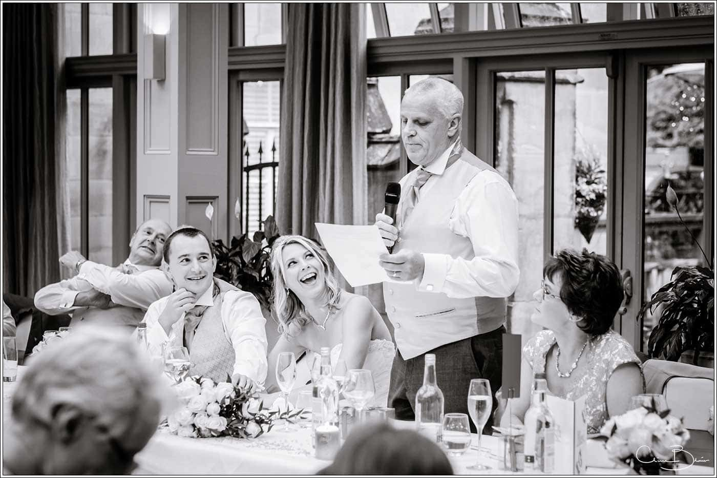 Father of the bride's speech-by Hampton manor wedding photographer Clive Blair Photography