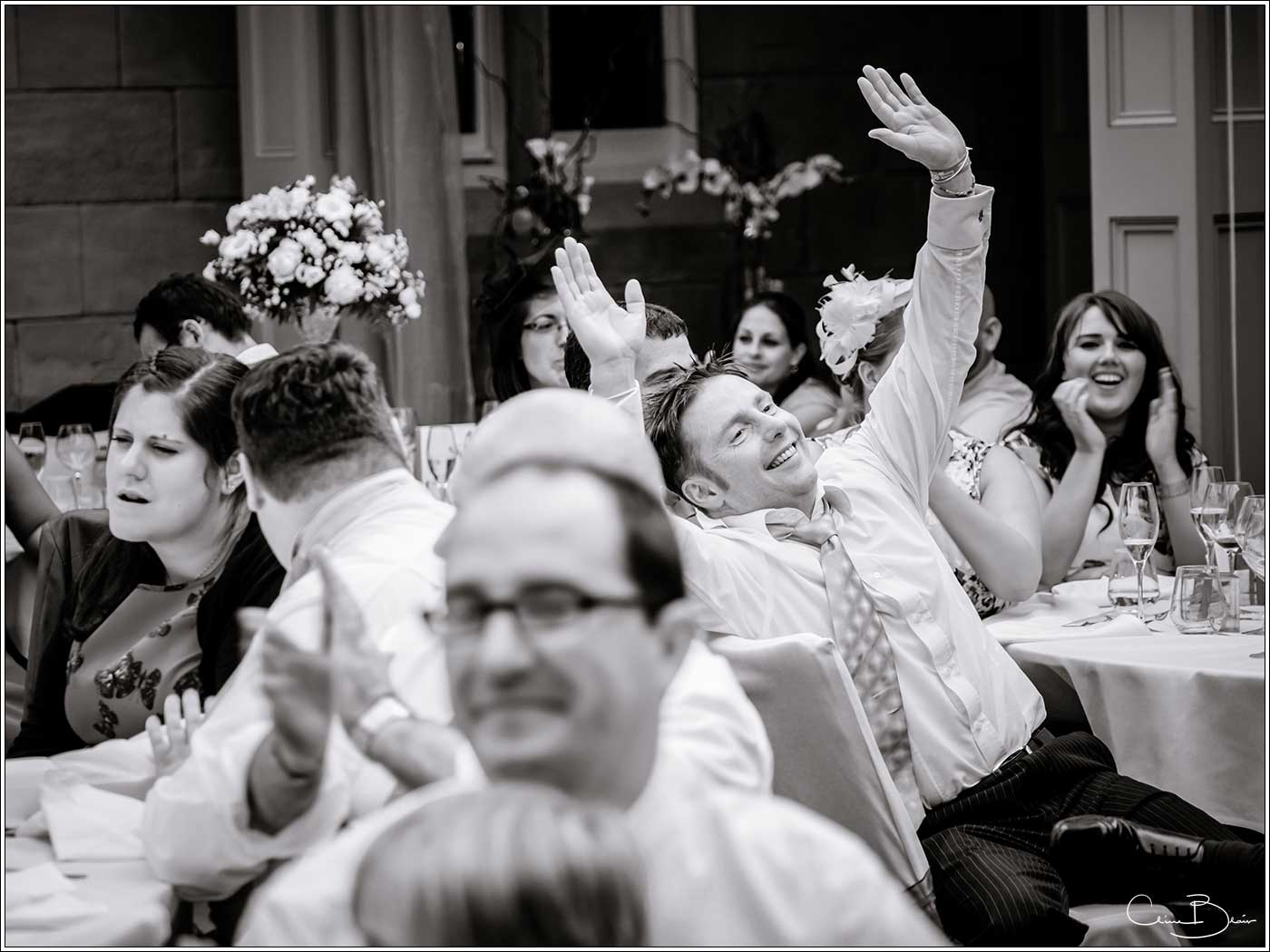 Guest during the wedding speeches-by Hampton manor wedding photographer Clive Blair Photography