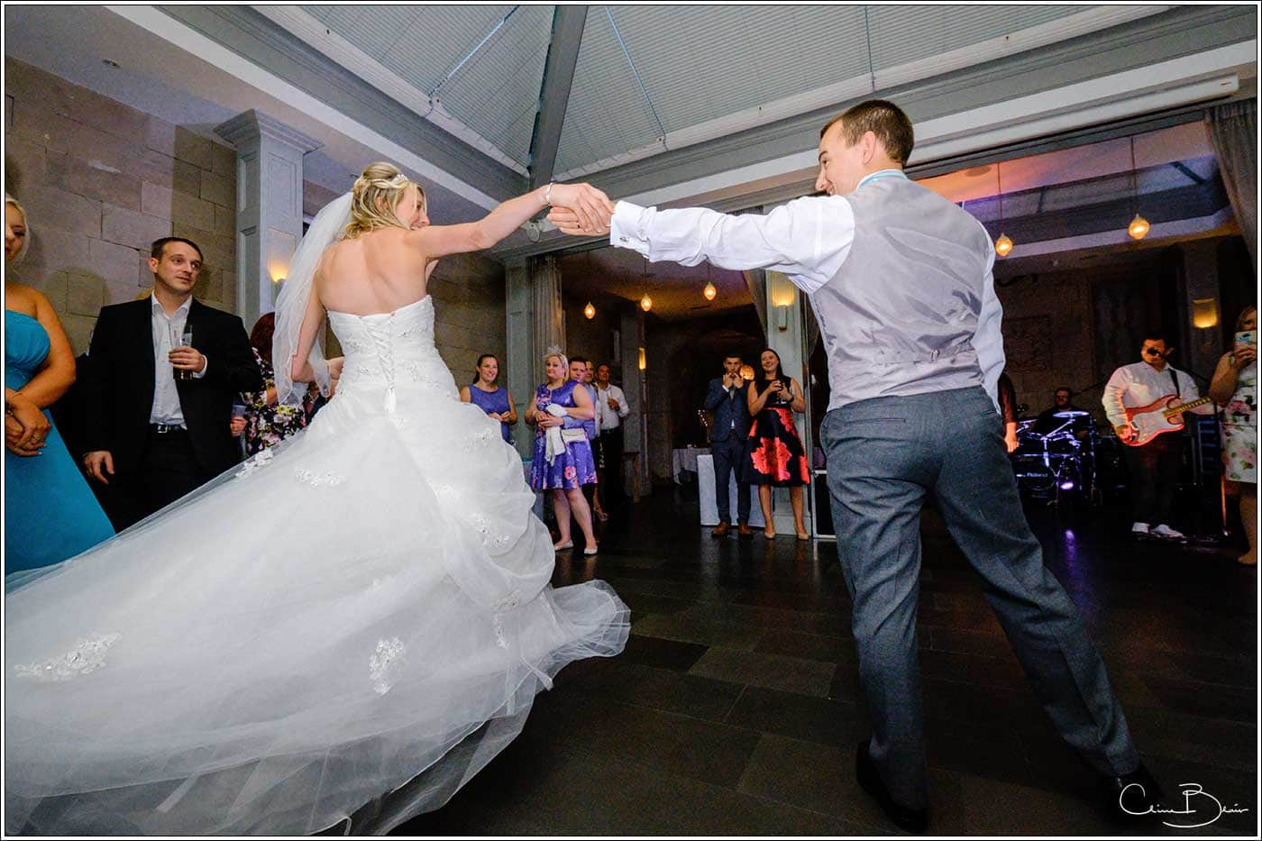 Bride and groom first dance-by Hampton manor wedding photographer Clive Blair Photography