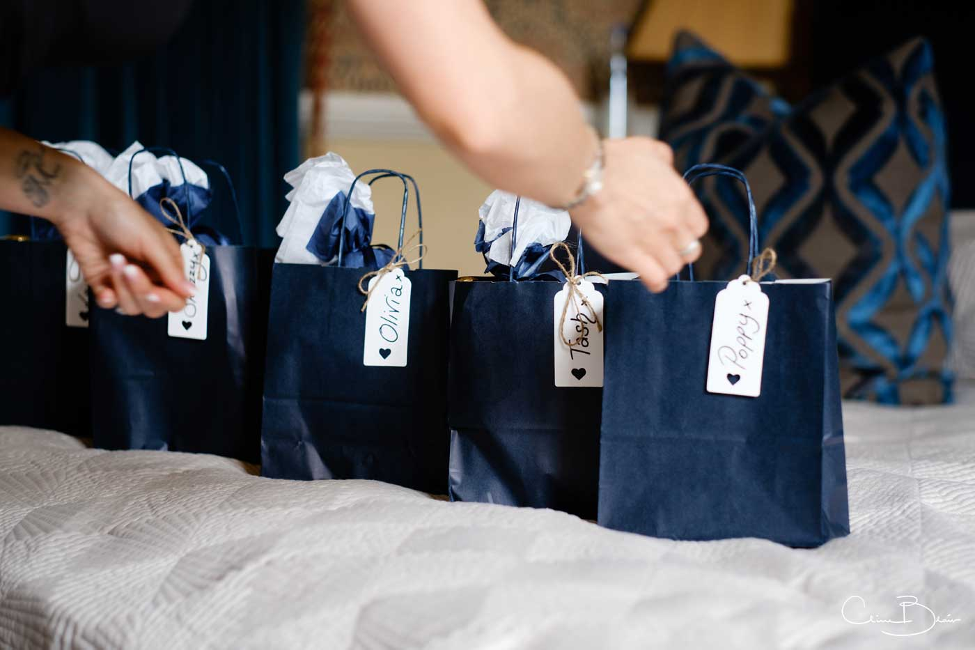 Bride sorting favours before handing them out