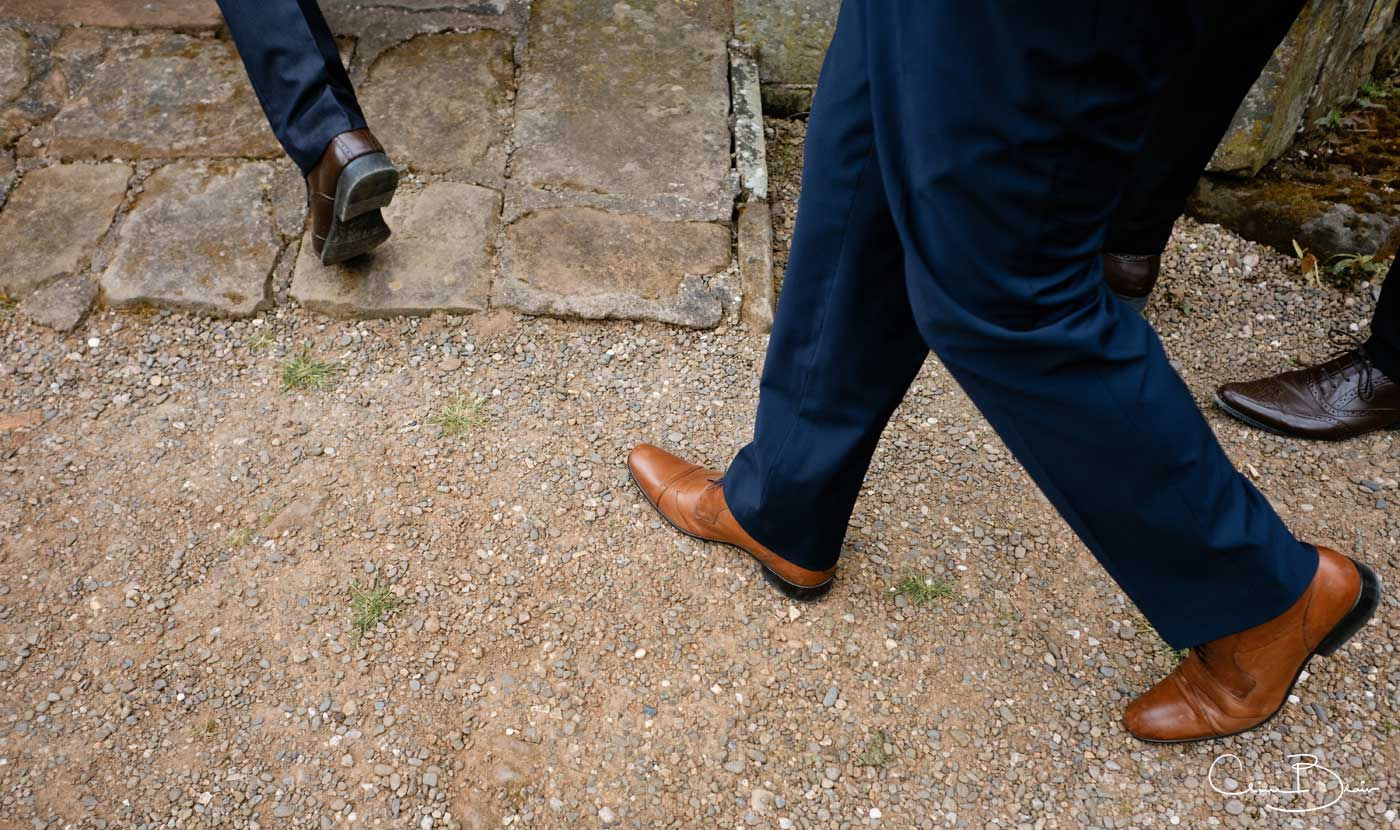 Feet approaching wedding chapel at Grafton Manor