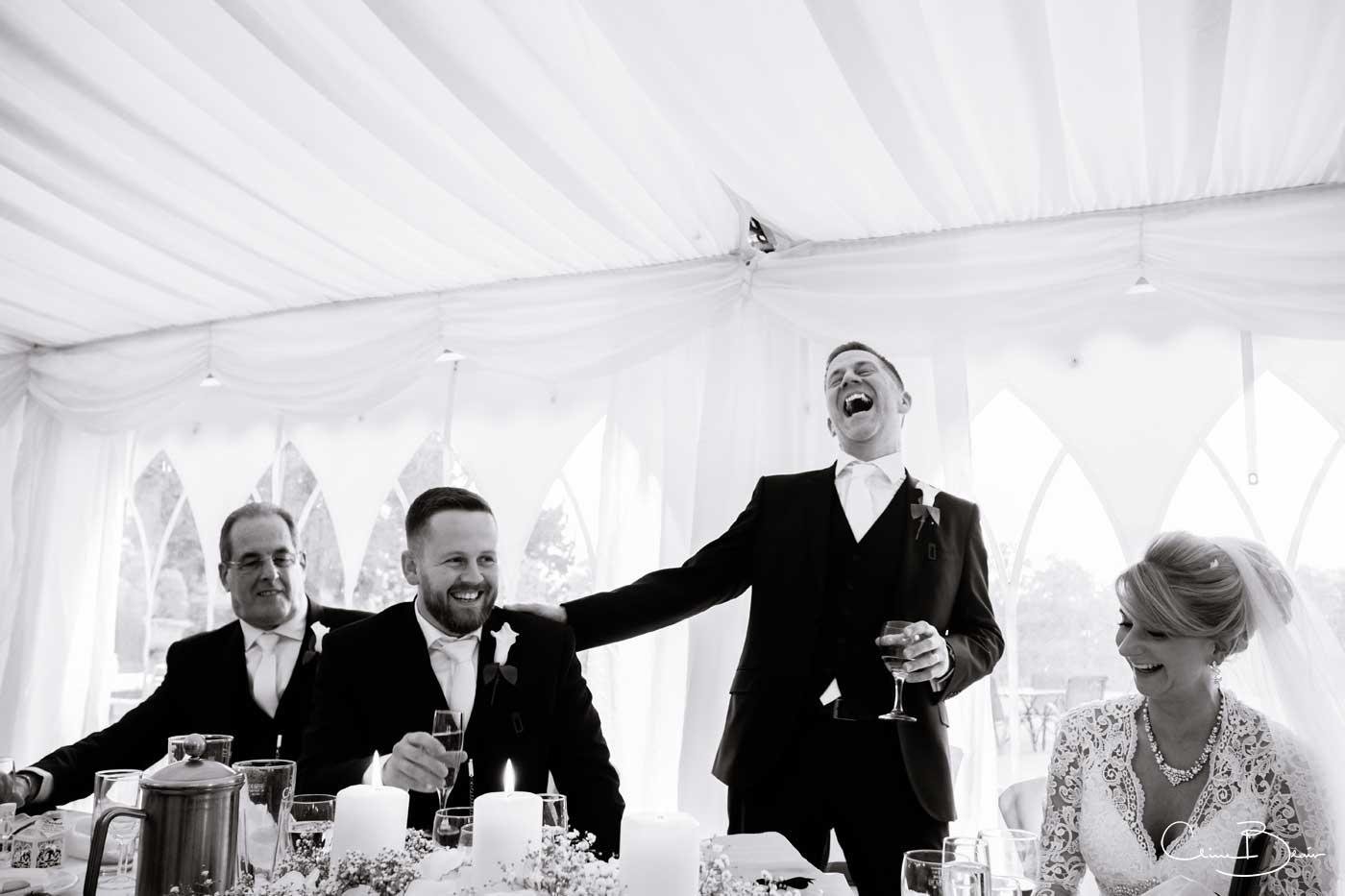 Laughing groom during his speech at Grafton Manor