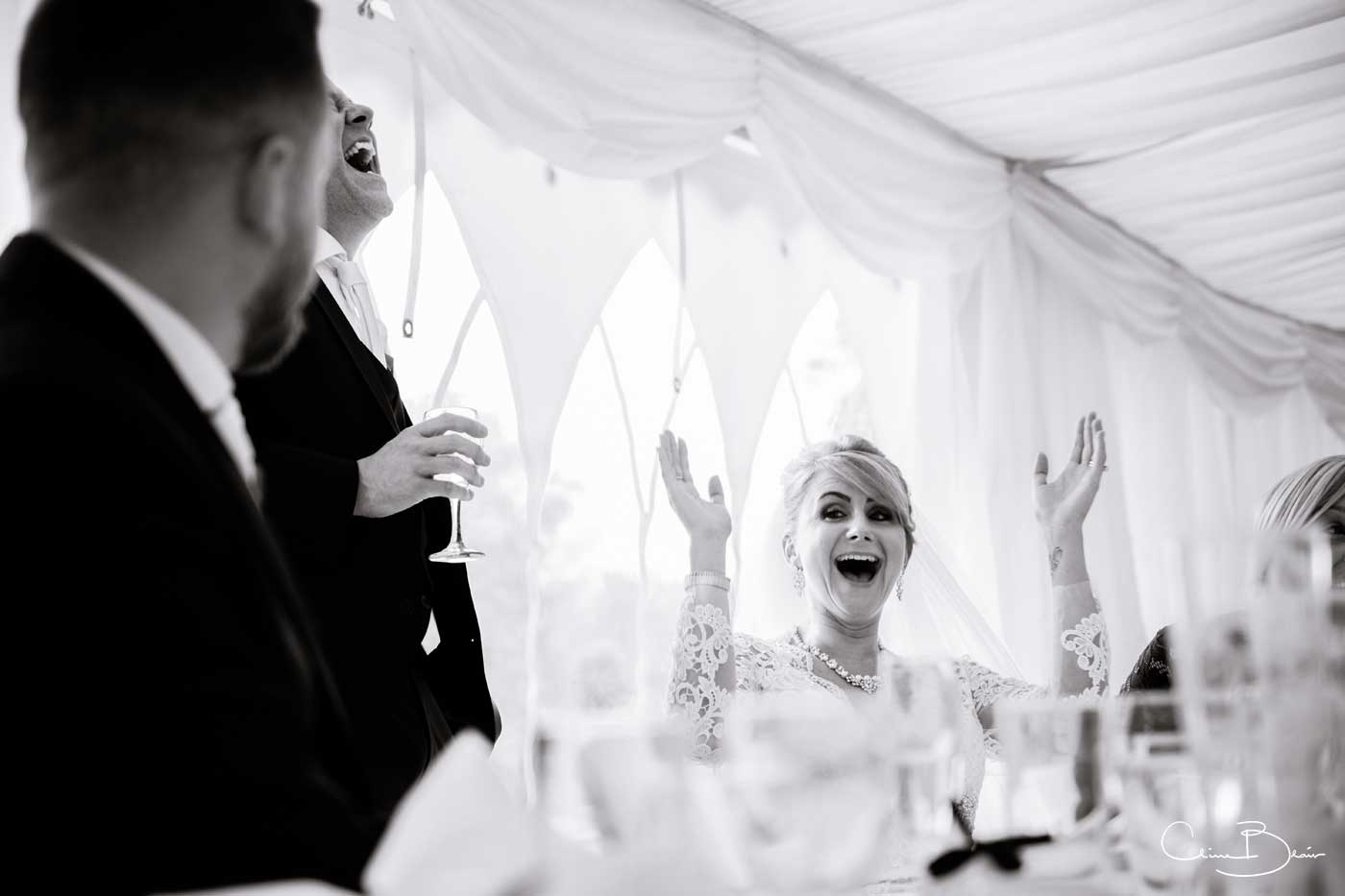 Bride during speeches at Grafton Manor
