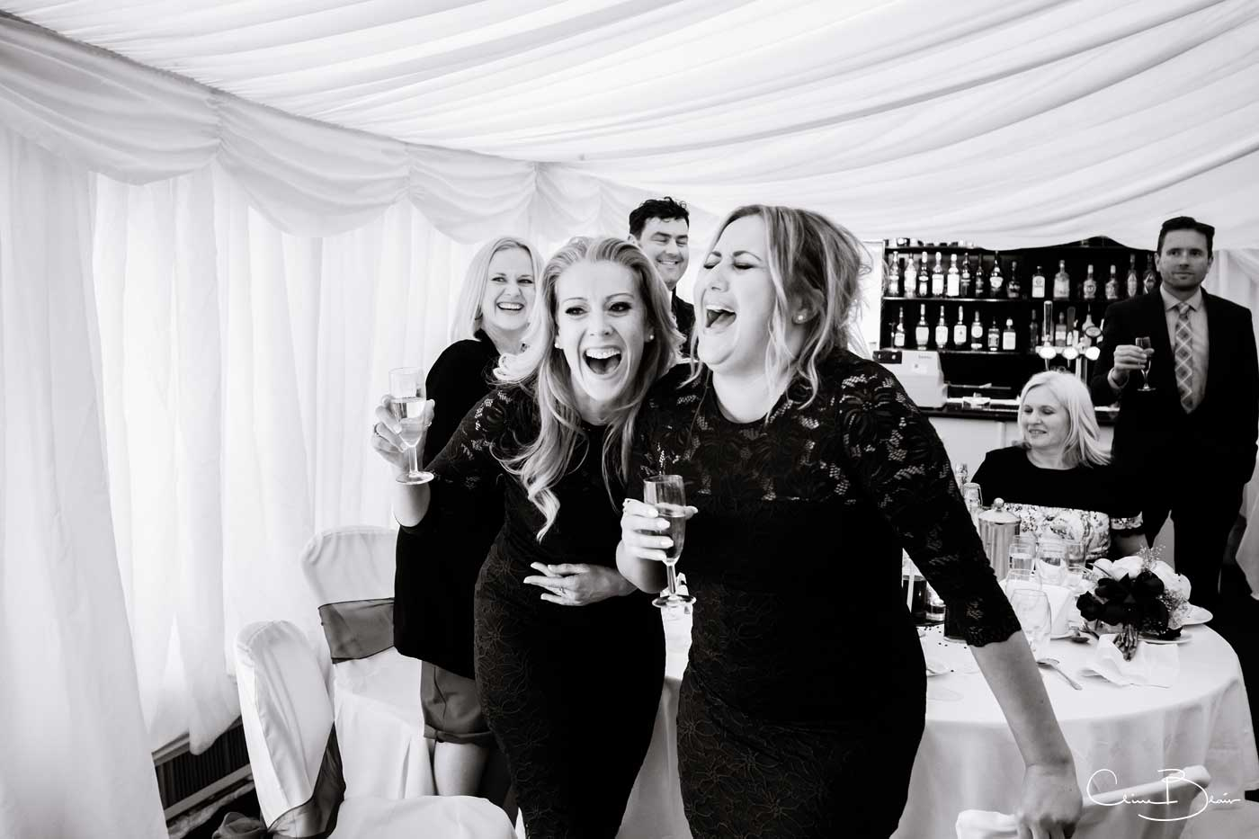 Bridesmaids and guests listening to funny speeches at Grafton Manor