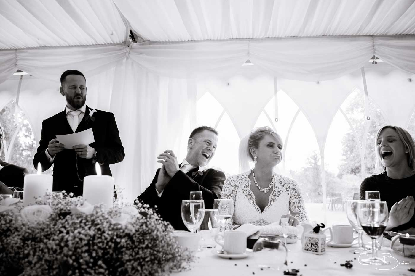 Speeches at Grafton Manor as captured by Grafton Manor wedding photographer Clive Blair Photography
