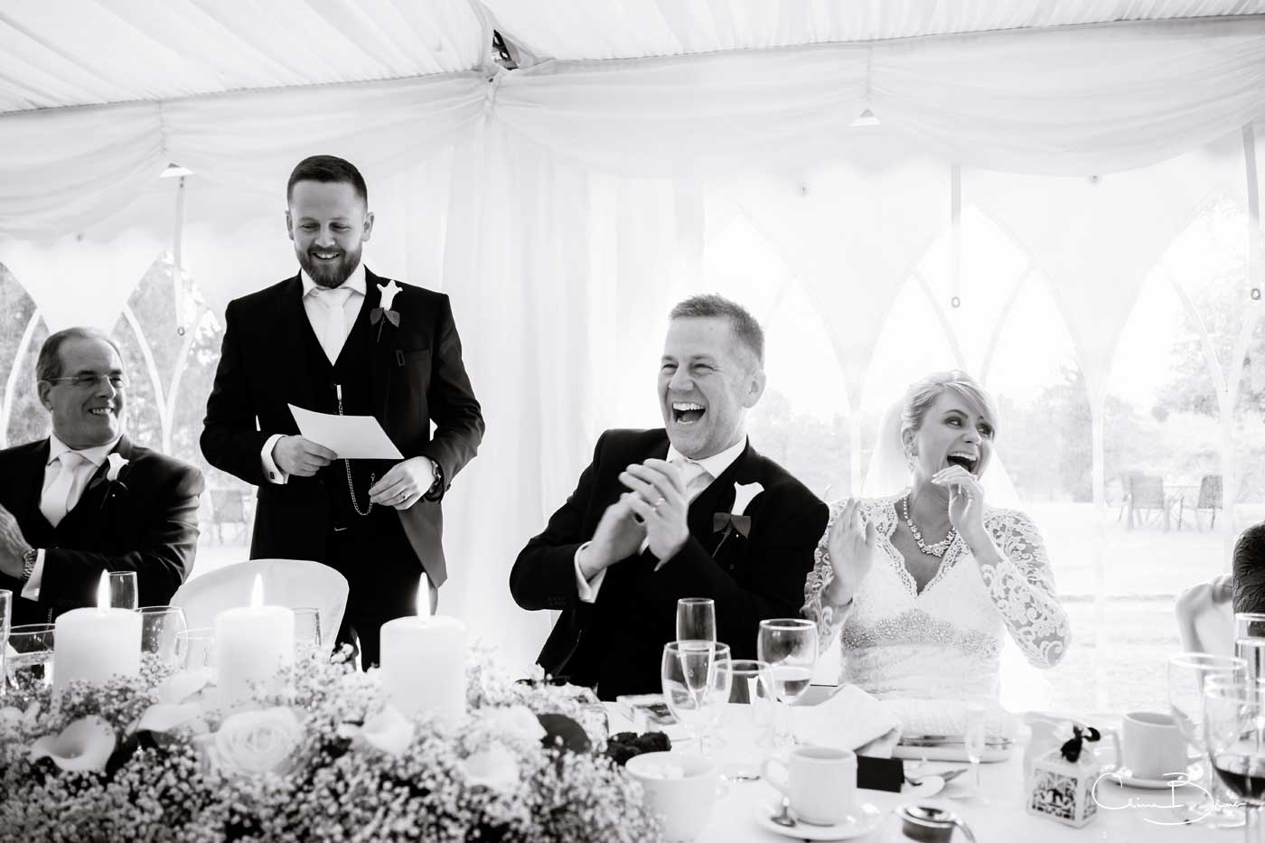 Laughter during the Grafton Manor wedding speeches