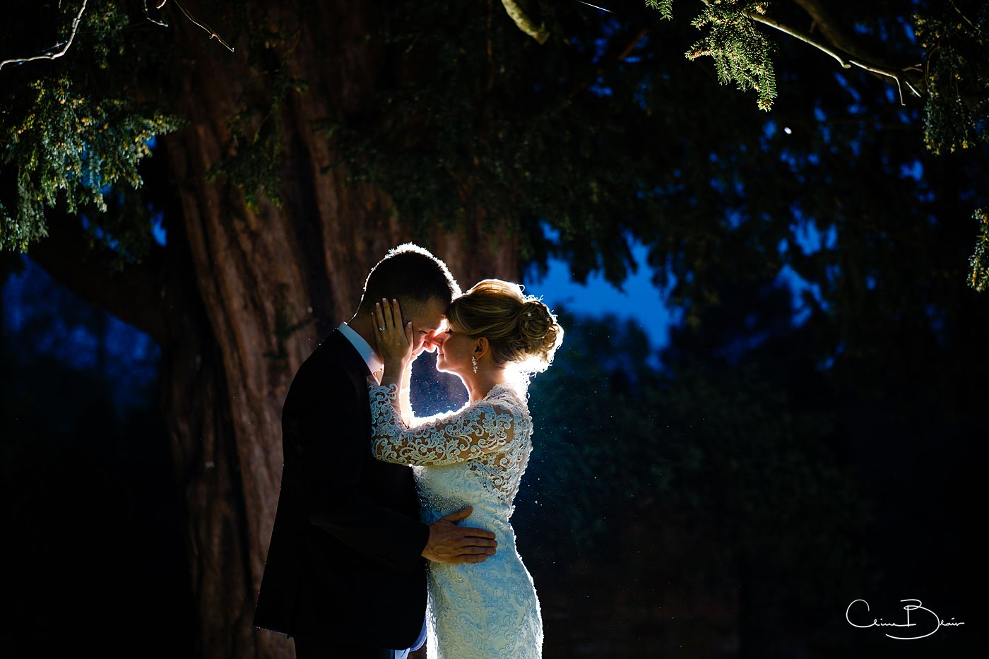 Bride and groom backlit at Grafton Manor by documentary weding photographer Birmingham, Clive Blair Photography