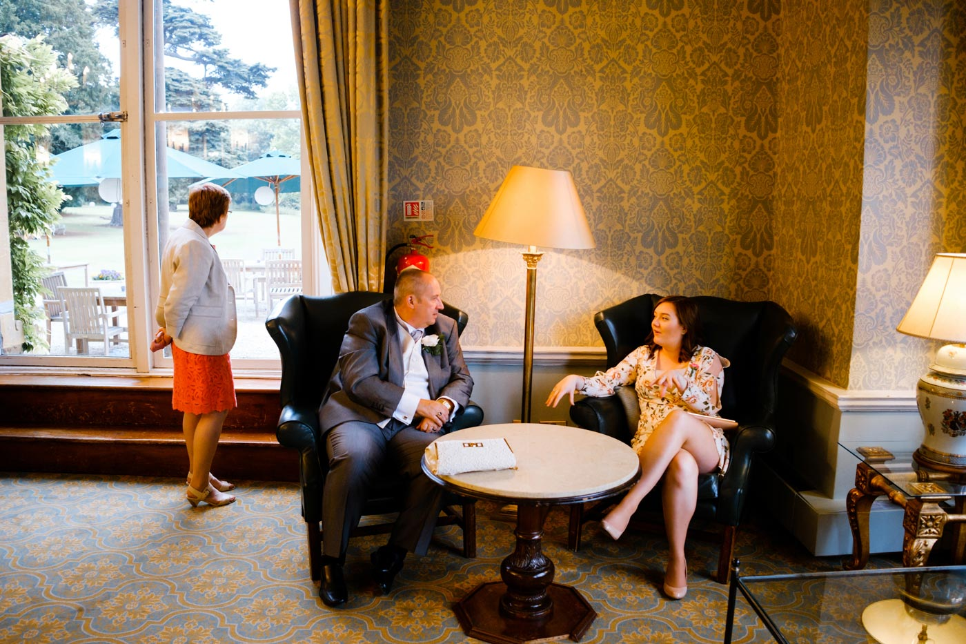 Guest relaxing inside Ettington Park Hotel